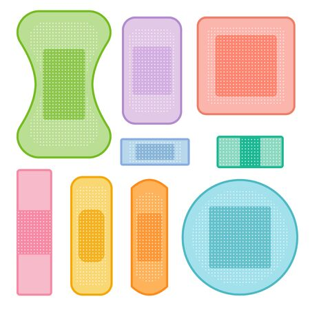 Set of colorful medical plasters, vector isolated objects