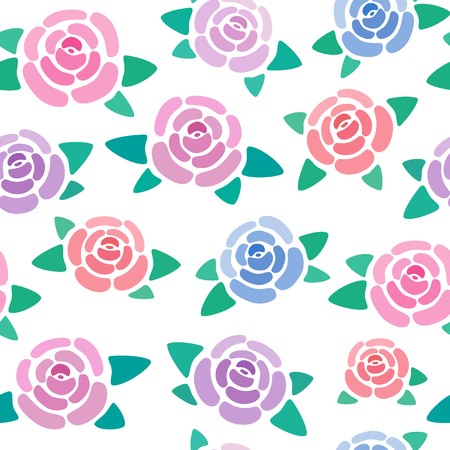 Seamless pattern with roses without background, nice and simple stylized flowers, vector wallpaper, illustration 免版税图像 - 126379675
