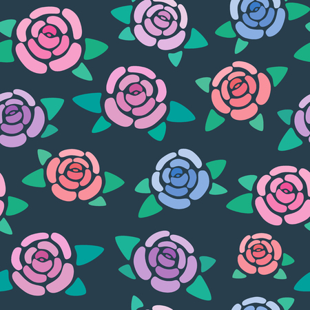 Seamless pattern with roses on dark background, nice and simple stylized flowers, vector wallpaper, illustration 免版税图像 - 126360606
