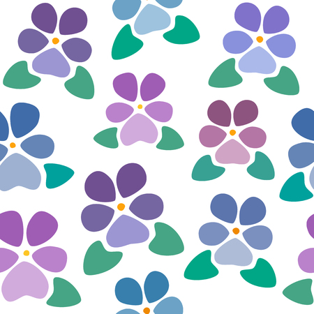 Seamless pattern with violets without background, nice and simple stylized flowers, vector wallpaper, illustration 矢量图像