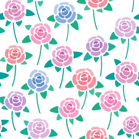 Seamless pattern with roses without background, nice and simple stylized flowers, vector wallpaper, illustration 免版税图像 - 126082826