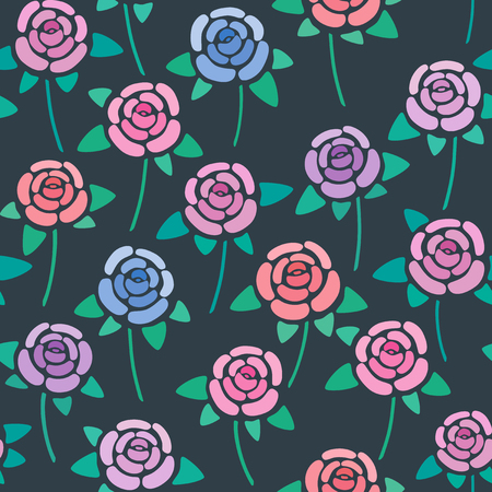 Seamless pattern with roses on dark background, nice and simple stylized flowers, vector wallpaper, illustration 矢量图像