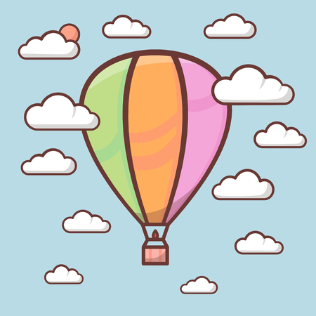 Cute air balloon with outline in sky with clouds, children illustration. Vector art 矢量图像
