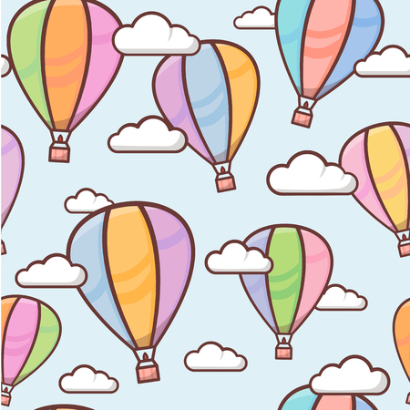 Seamless pattern with colorful outline balloons in the sky with clouds, naive and simple background, cute vector illustration for children 矢量图像