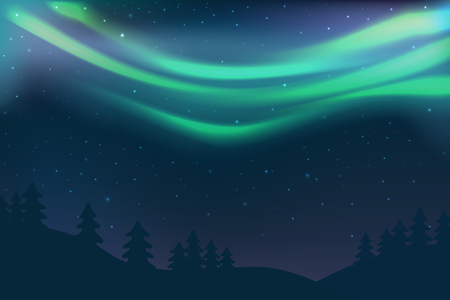 Night sky with aurora over spruce forest, green north light with stars, polar light glowing, polar streamers. Vector illustration
