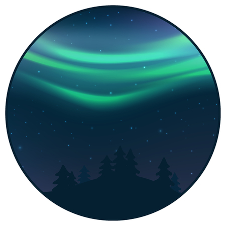 Night sky with aurora over spruce forest, green northern light with stars, polar light glowing, polar streamers. Vector illustration