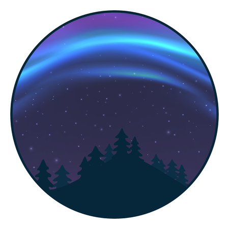 Night sky with aurora over spruce forest, blue northern light with stars, polar light glowing, polar streamers. Vector illustration