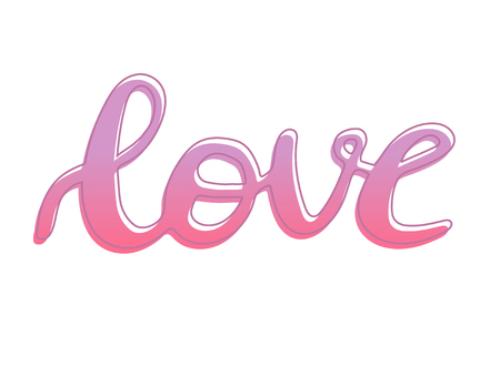 Love word hand drawn lettering with outline, brush calligraphy imitation, text design for banner, pink colored sign isolated without background, vector sign