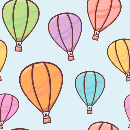 Seamless pattern with colorful balloons with outline in the sky, naive and simple background, cute vector illustration for children 矢量图像