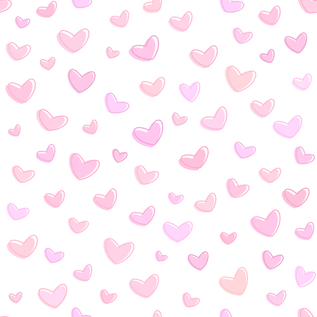 Seamless pink hearts pattern, pink background for saint valentines day, romantic vector wallpaper