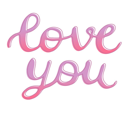 Love you sign hand drawn lettering with outline, brush calligraphy imitation, text design for banner, pink colored sign isolated without background, vector art