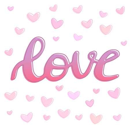 Love word hand drawn lettering with outline and hearts, brush calligraphy imitation, text design for banner, pink colored sign isolated with hearts background, vector illustration 矢量图像