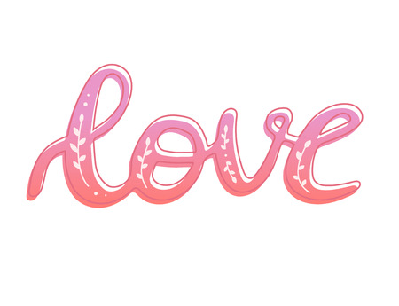 Love word hand drawn lettering with outline and floral decoration, brush calligraphy imitation, text design for banner, pink colored sign isolated without background, vector illustration