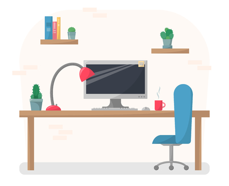 Working place illustration in flat style, computer on work table with chair, lamp, mug, shelves with books and cactuses, cabinet interior concept Illustration