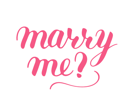 Marry me phrase to propose and pop the question, hand-written lettering, script calligraphy, pink sign proposal isolated without background, vector art for postcard