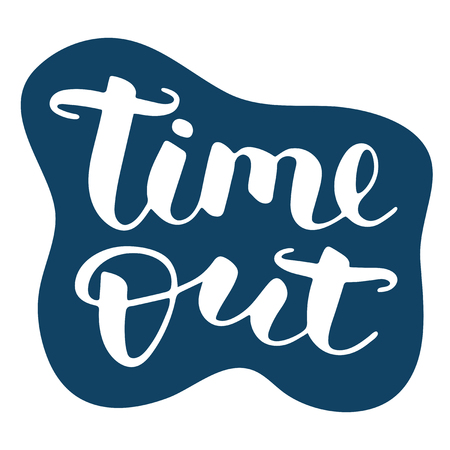 Time out hand drawn vector lettering. Isolated sign for break and pause on blue background. Brush calligraphy imitation, text phrase design for banner, business card 矢量图像