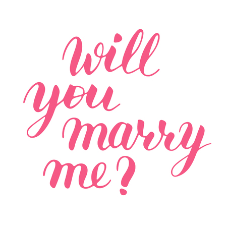 Will you marry me hand drawn vector lettering. Isolated pink sign for propose and pop the question without background, script calligraphy. Brush calligraphy imitation, vector art for postcard