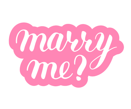 Marry me phrase to propose and pop the question, hand-written lettering, script calligraphy, pink sign proposal isolated with outline, vector art for postcards 矢量图像