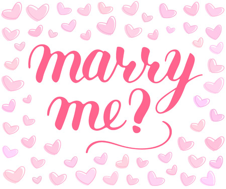 Will you marry me hand drawn vector lettering, isolated pink phrase to propose and pop the question, script calligraphy with hearts background, sign proposal isolated, vector art for postcards