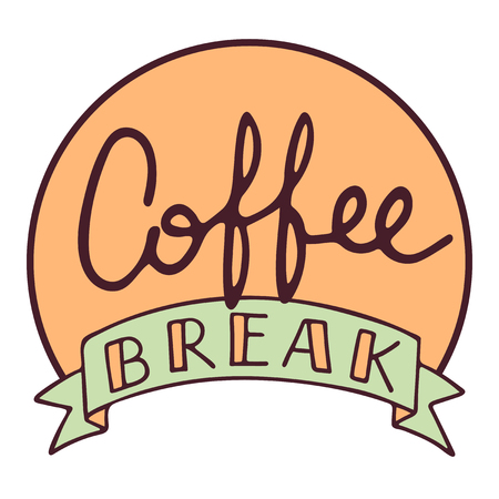 Coffee break hand drawn vector lettering with ribbon, isolated sign for break and pause, brush calligraphy imitation, text phrase design for banner, cards