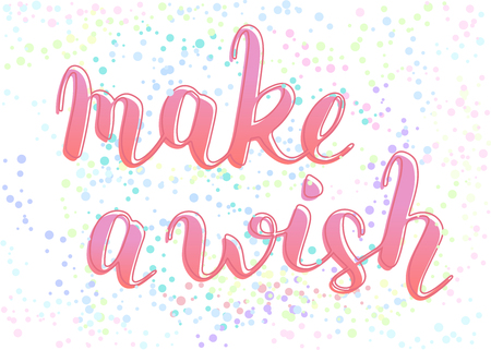 Make a wish phrase to congratulate with birthday, hand-written lettering with outline, script calligraphy, pink sign with confetti without background, vector art for greeting card 矢量图像
