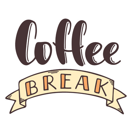 Coffee break hand drawn vector lettering with ribbon. Isolated sign for break and pause without background. Brush calligraphy imitation, text phrase design for banner, cards