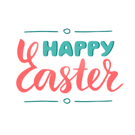 Happy Easter hand drawn lettering, isolated sign to congratulate with Easter, brush calligraphy, text phrase design for banner and greeting cards, vector illustration