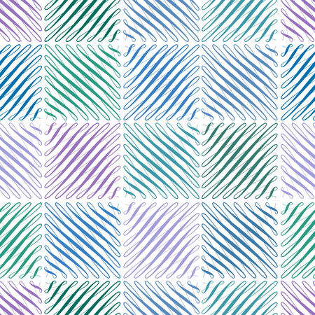 Seamless pattern with flourishes in square shape, repeated green and blue scroll background, universal backdrop, curl decoration elements wallpaper, vector