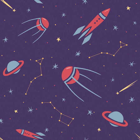 Seamless space pattern for kids with stars, rocket, constellation, satellite, comets and planets in cartoon style, children background, purple vector wallpaper 矢量图像