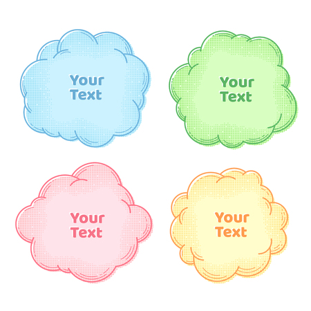 Text boxes collection, set of speech and thought bubbles with halftone, design element, frame or background for text, advertising, cards, flyers, brochures, vector