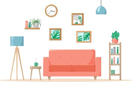 Living room in flat style, home illustration with sofa, lamp, house plants in pots, books on shelves, vector