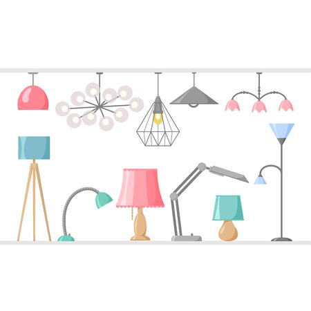 Different lamp set, chandelier and spotlight collection, vector illustration in flat style 矢量图像