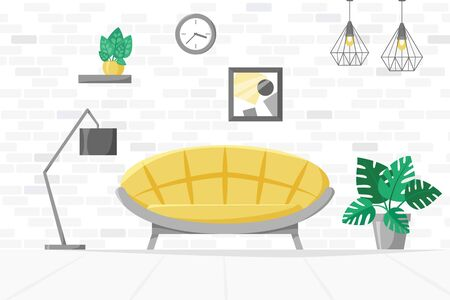 Living room in flat style, home illustration with sofa, lamp, house plants in pots, modern interior concept, vector