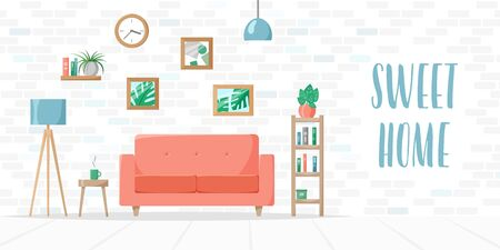 Living room in flat style, home illustration with sofa, lamp, house plants in pots, books on shelves, brick wall, sweet home sign, vector art and lettering