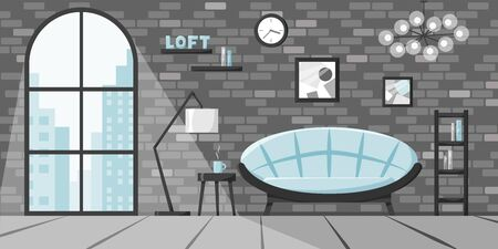 Modern living room in flat style, loft interior concept, apartment in city with big window and brick wall. Vector illustration of home with sofa, lamp, books on shelves, clock in blue and grey colors 矢量图像