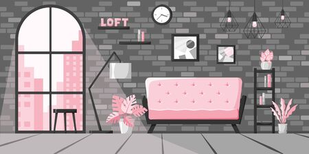 Modern living room in flat style, loft interior concept, city apartment with big window and brick wall. Home vector illustration with sofa, lamp, books on shelf, clock, plants in pink and grey colors