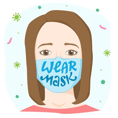 Wear mask lettering, worried woman wearing medical mask with sign, personal safety apparel, protective gear, virus and bacterial disease precaution, vector illustration