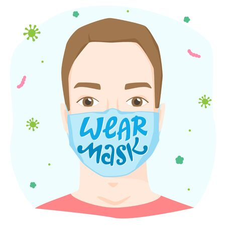 Wear mask lettering, worried man wearing medical face mask with sign, personal safety apparel, protective gear, virus and bacterial pulmonary disease precaution, vector illustration, poster 矢量图像