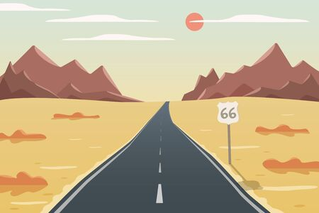 Long road vector illustration, route 66, mountain, grass and bushes view, way with good weather