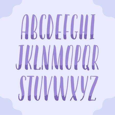 Hand-drawn alphabet, two color modern lettering, capital calligraphic letters, universal font for banners and cards, violet letters on purple background, vector type 矢量图像