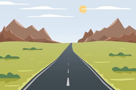 Long road vector illustration, mountain, grass and bushes view, way with good weather
