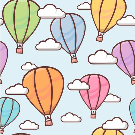 Seamless pattern with colorful outline balloons in the sky with clouds, naive and simple background, vector illustration for children