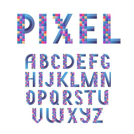 Alphabet, pixel modern lettering, colorful capital letters for banners and cards, vector type
