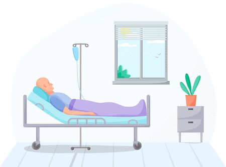 Person in hospital room, cancer patient on intravenous therapy treatment in warm, medical case on treatment, ill men on recovery in clinic, healthcare concept, vector illustration
