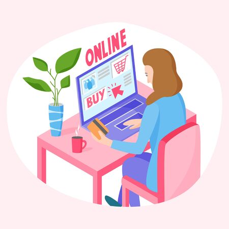 Buying online concept, woman orders goods on the internet and pay by card, shopping from home, vector illustration 矢量图像