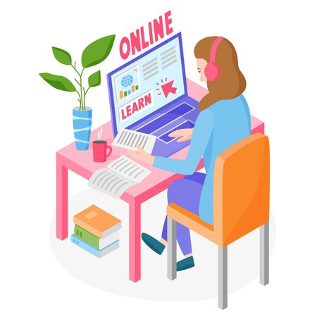 Learning online concept, woman studying online via the internet, learning from home, online education courses, vector illustration 矢量图像