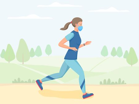 Women in mask running outdoor, jogging and training in park, physical activity outdoors, flat vector illustration