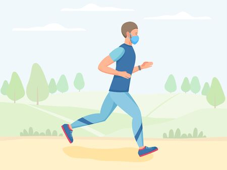 Men in mask running outdoor, jogging and training in park, physical activity outdoors, flat vector illustration