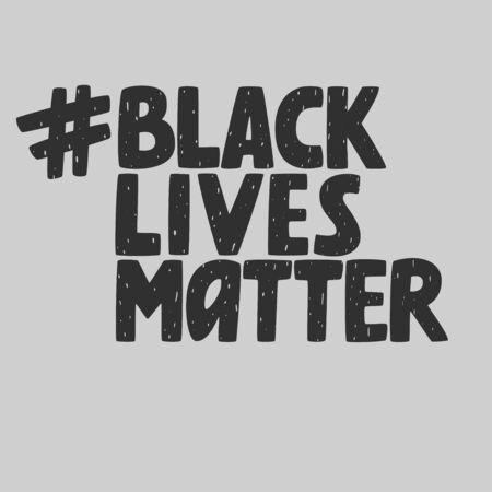 Black lives matter hashtag, anti-racist movement, vector sign