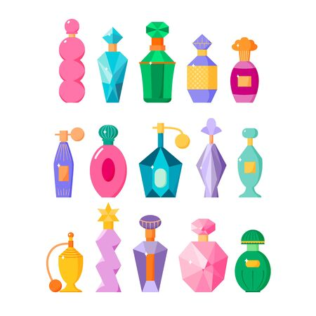 Perfume bottles set, different fragrance bottles with sparkles in flat style, scented waters collection, vector illustration isolated on white background